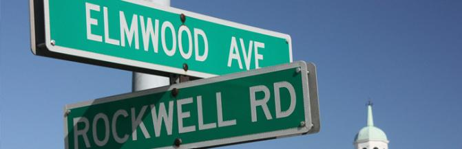 Elmwood Ave and Rockwell Hall Street Sign
